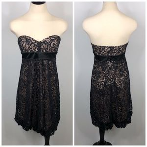 Cache Black Lace Overlay Strapless Bubble Dress